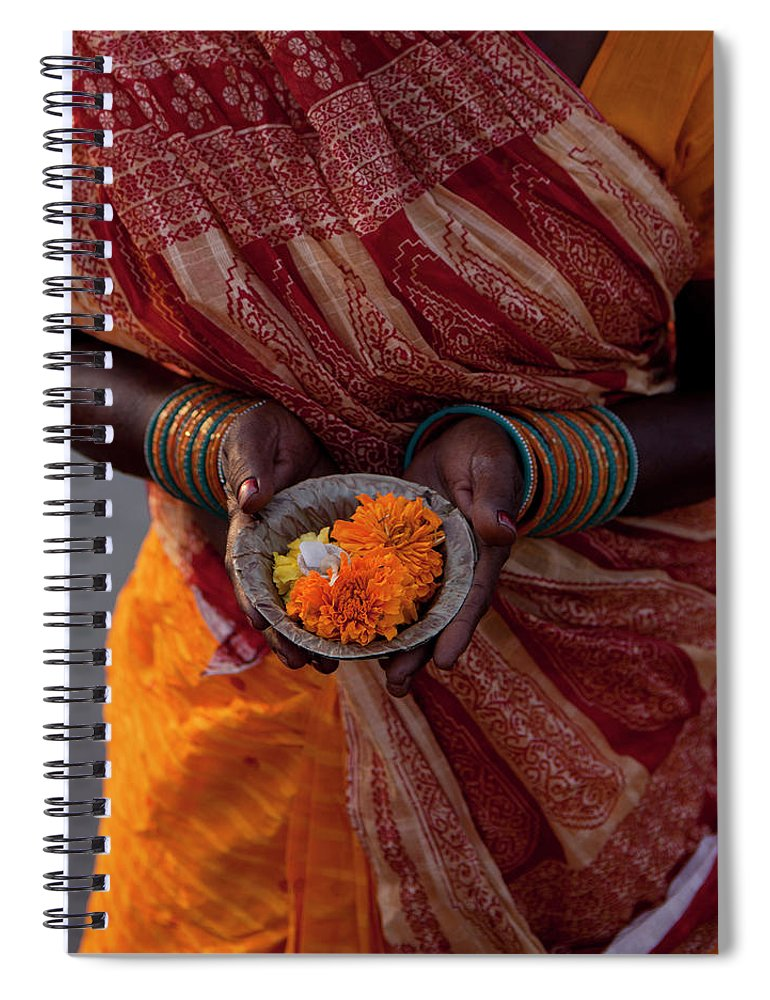 Hinduism Spiral Notebook featuring the photograph Indian Woman Offering Puja For The by Selimaksan