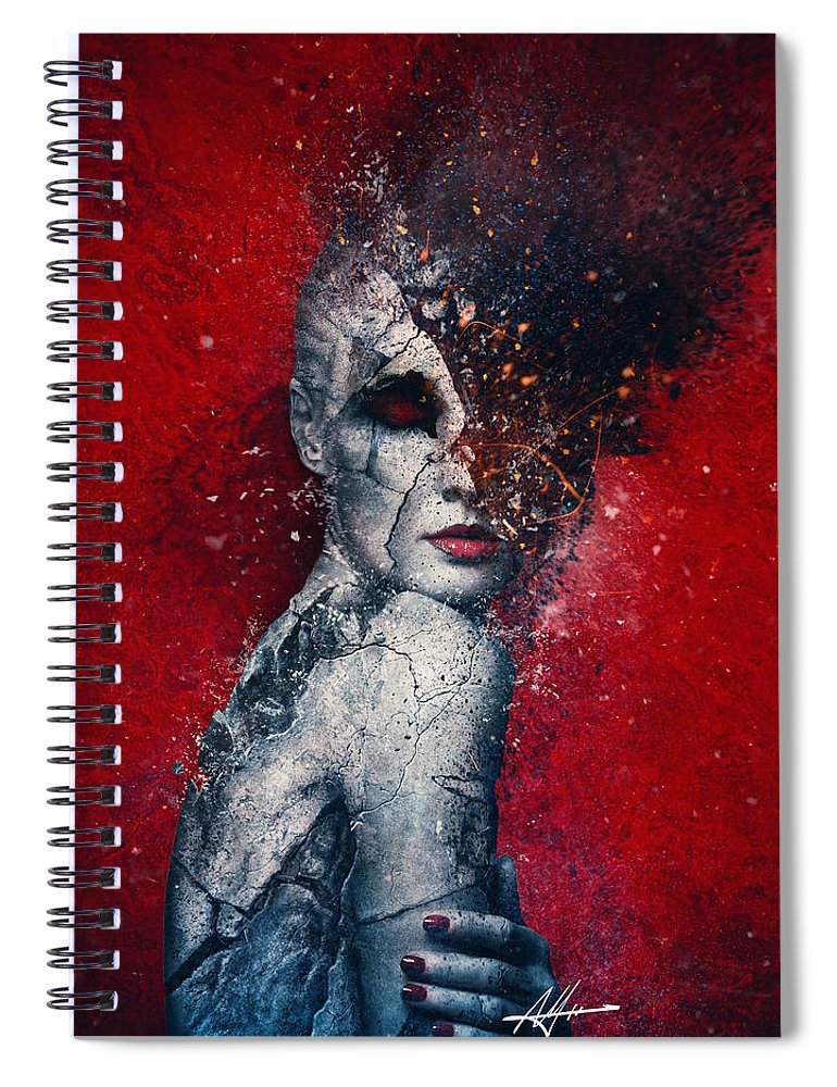 Red Spiral Notebook featuring the digital art Indifference by Mario Sanchez Nevado