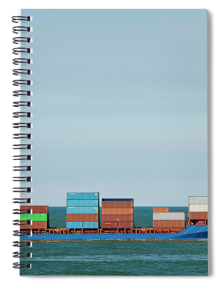 Freight Transportation Spiral Notebook featuring the photograph Industrial Barge Carrying Containers by Mischa Keijser