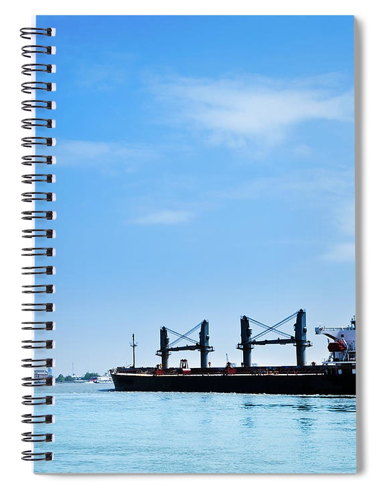 Freight Transportation Spiral Notebook featuring the photograph Industrial Ship On Mississippi River by Lightkey