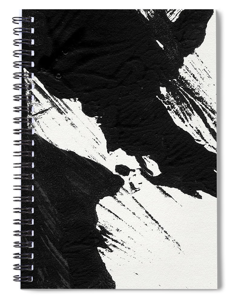 Abstract Spiral Notebook featuring the mixed media Ink Wave 2- Art By Linda Woods by Linda Woods