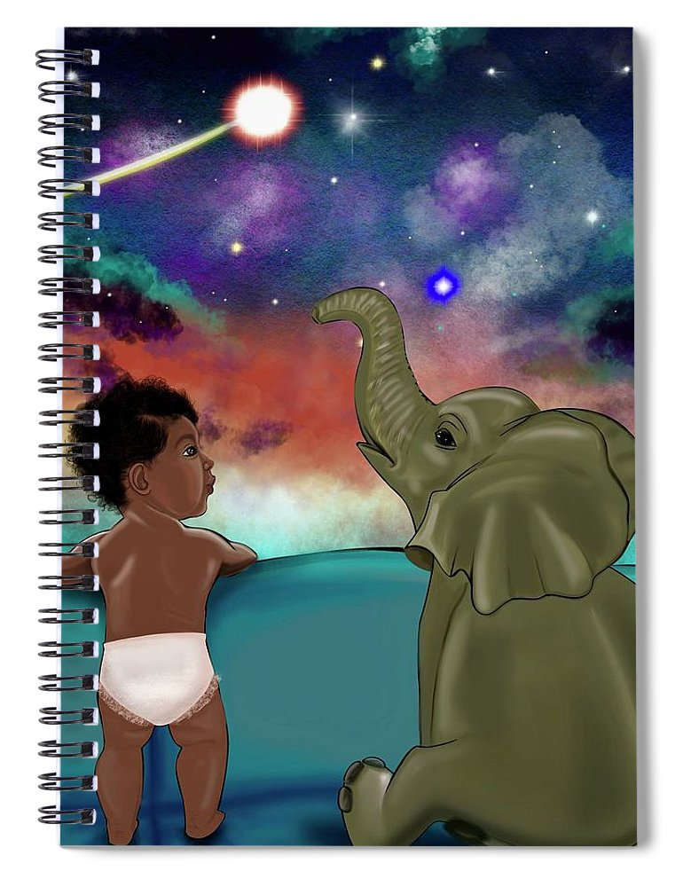 Elephant Spiral Notebook featuring the painting Inspired by Artist RiA