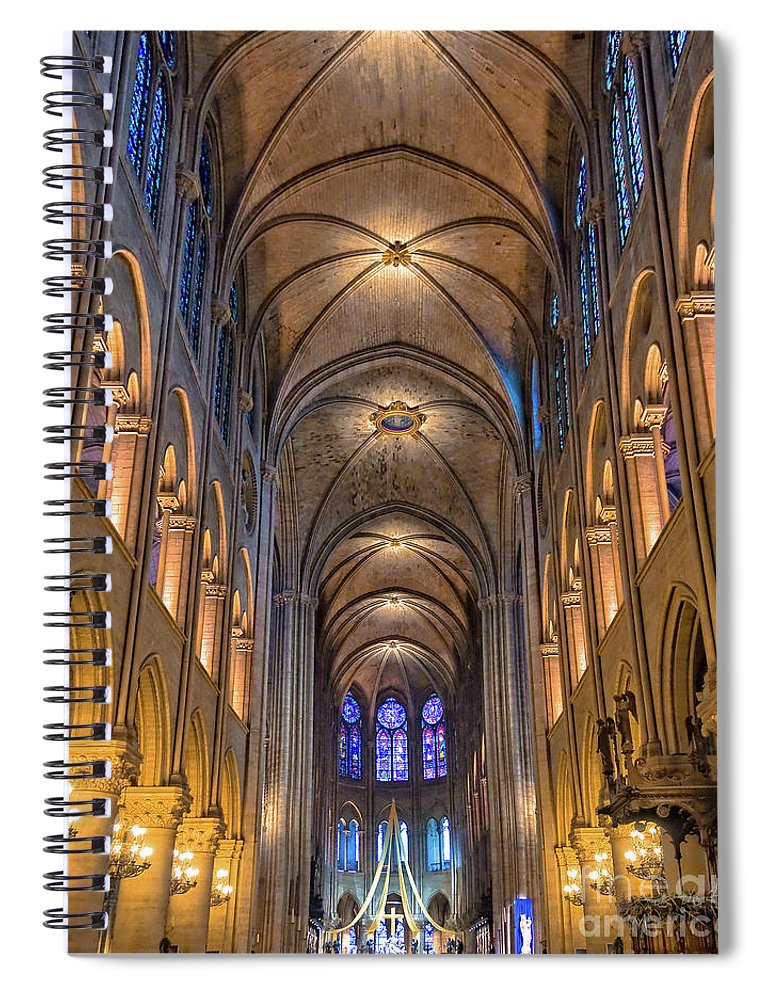 Notre Dame Spiral Notebook featuring the photograph Interior Of Notre Dame De Paris by Delphimages Photo Creations
