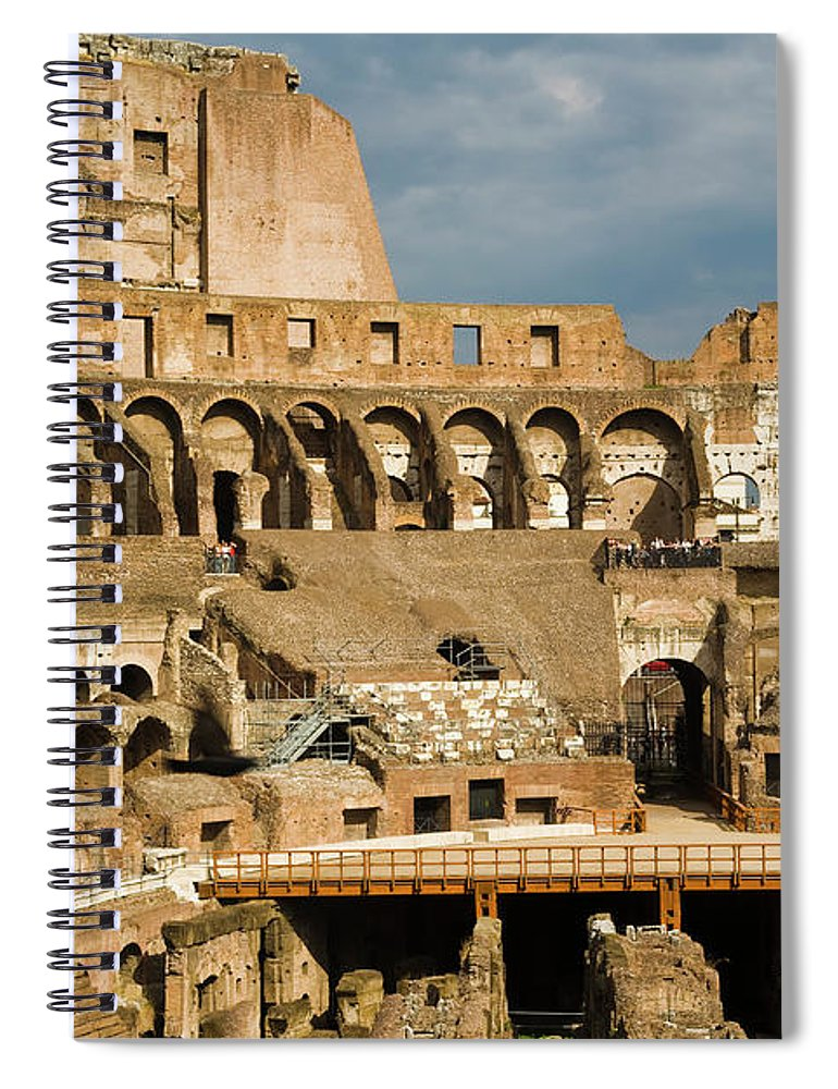 Arch Spiral Notebook featuring the photograph Interior Of The Colosseum, Rome, Italy by Juan Silva