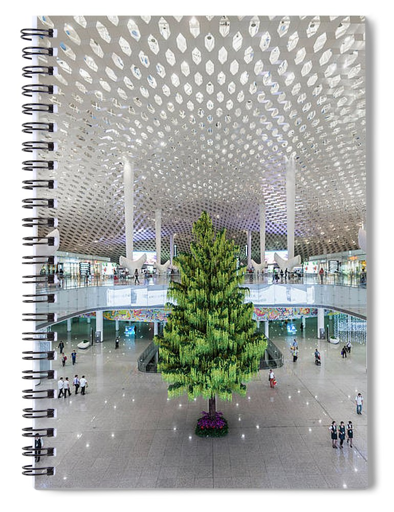 Ceiling Spiral Notebook featuring the photograph Interior Of The New Shenzen Airport by Martin Puddy