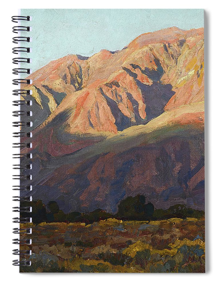 Maynard Dixon Spiral Notebook featuring the painting Inyo Range At Sunset, Lone Pine, 1919 by Maynard Dixon