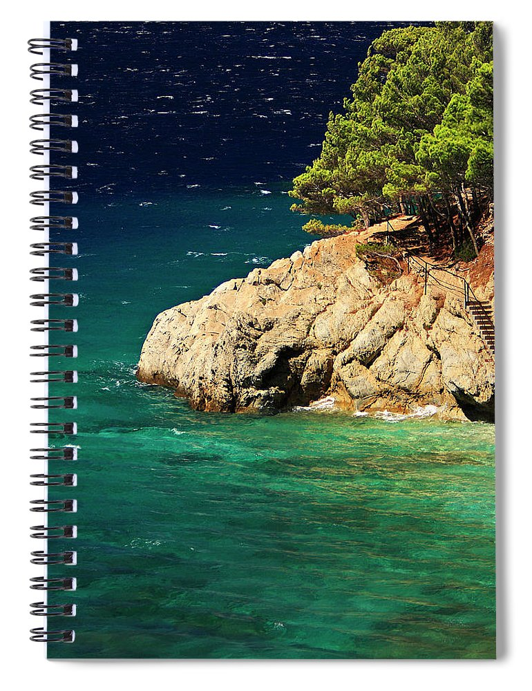 Steps Spiral Notebook featuring the photograph Island In The Adriatic by Tozofoto
