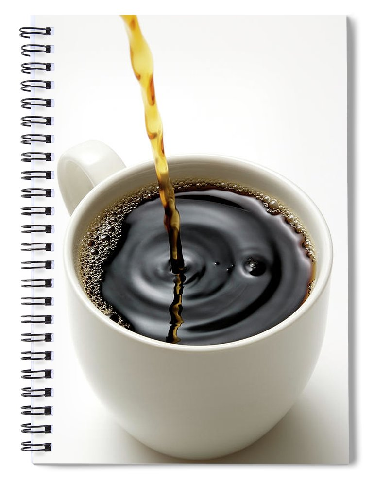 Breakfast Spiral Notebook featuring the photograph Isolated Shot Of Pouring A Fresh Coffee by Kyoshino