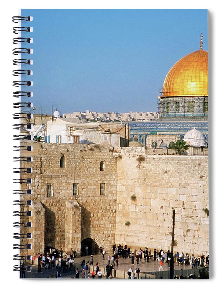 Dome Of The Rock Spiral Notebook featuring the photograph Israel, Jerusalem, Western Wall And The by Medioimages/photodisc