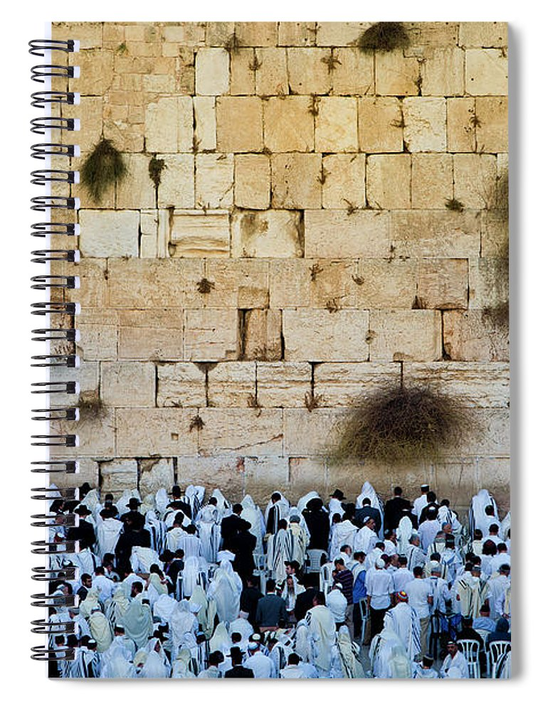 Crowd Spiral Notebook featuring the photograph Israeli Flag Flies At The Western Wall by Gary S Chapman