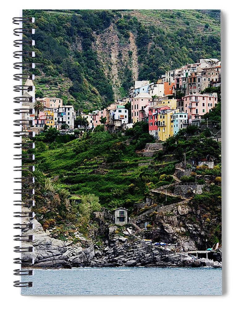 Town Spiral Notebook featuring the photograph Italy, Liguria, Corniglia, View From by Jeremy Woodhouse