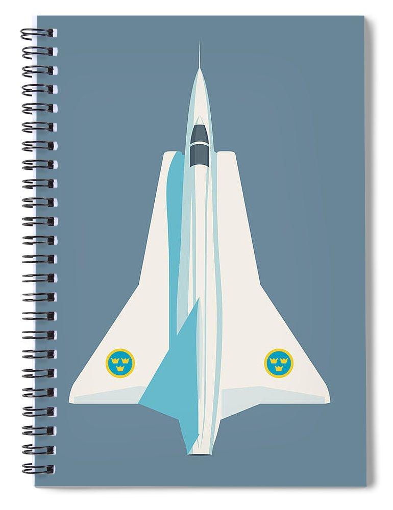 Draken Spiral Notebook featuring the digital art J35 Draken Swedish Air Force Jet Aircraft - Slate by Ivan Krpan