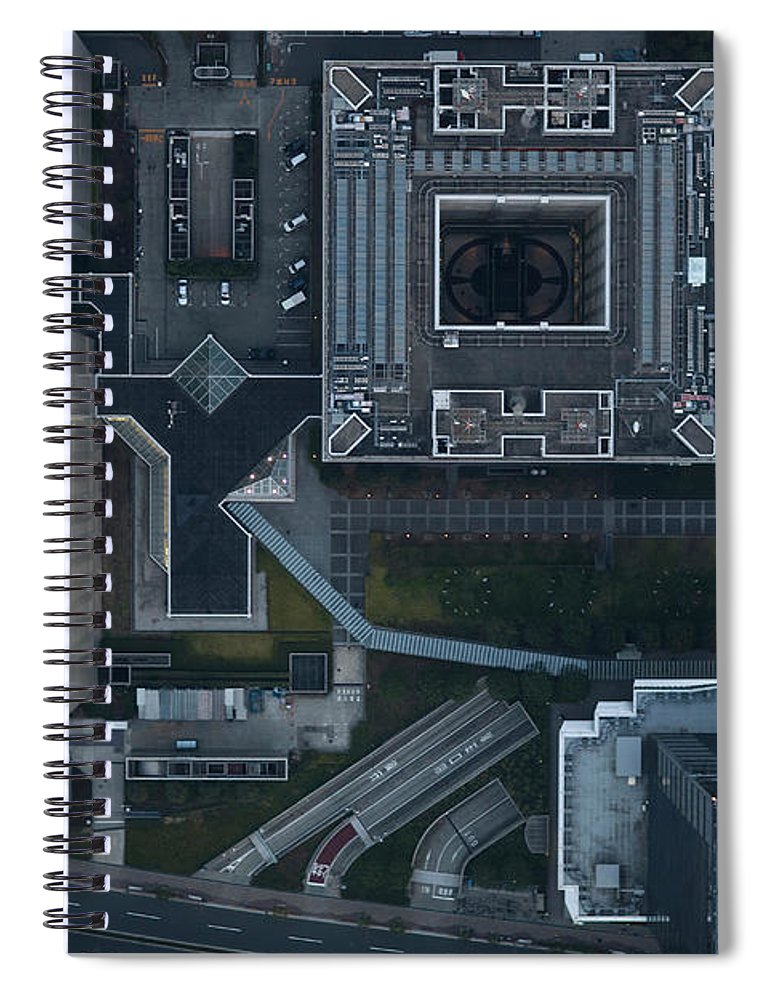 Two Lane Highway Spiral Notebook featuring the photograph Japan, Tokyo, Aerial View Of Shinagawa by Michael H