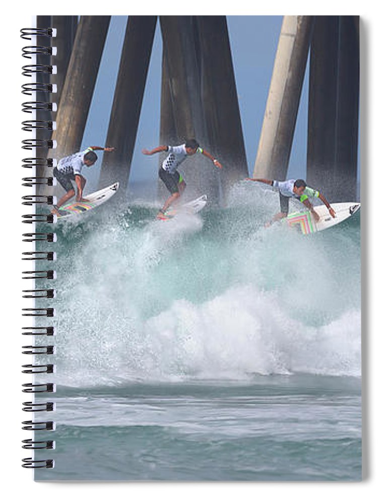 Surfing Spiral Notebook featuring the photograph Jeremy Flores Surfing Composite by Brian Knott Photography