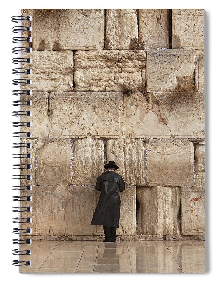 People Spiral Notebook featuring the photograph Jewish Man Praying On The Wailing Wall by Richmatts