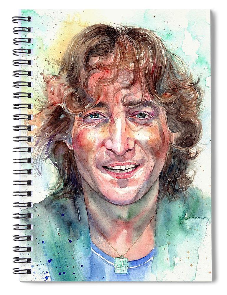 John Lennon Spiral Notebook featuring the painting John Lennon Smiling by Suzann Sines