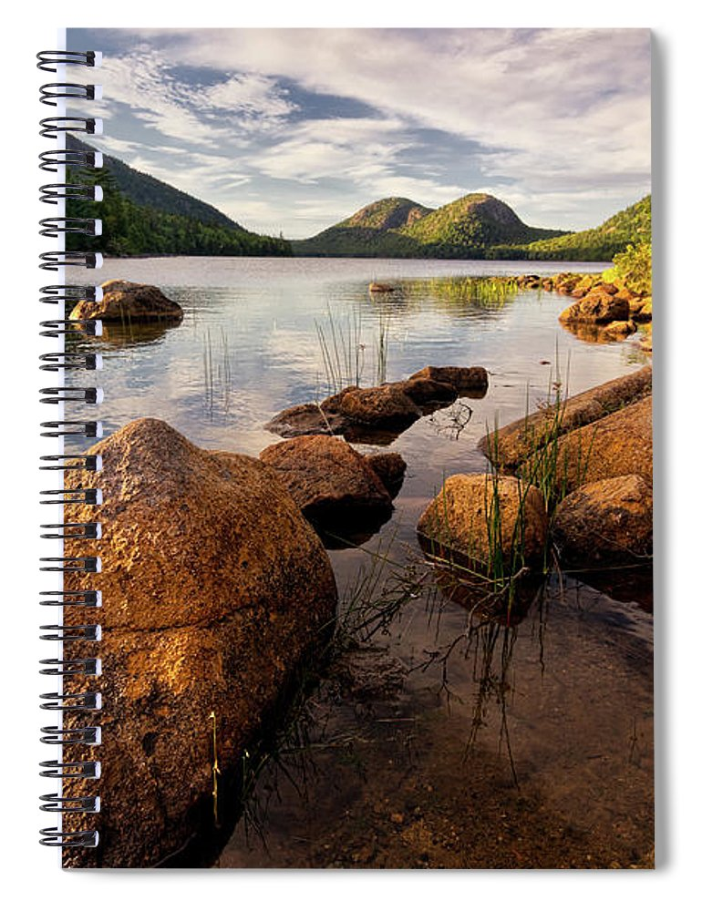Scenics Spiral Notebook featuring the photograph Jordan Pond Rocks by Www.cfwphotography.com