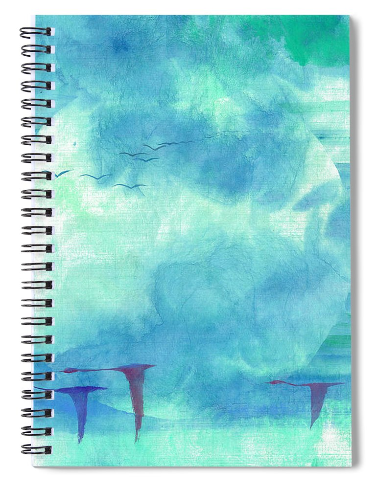 Majestic Cranes Journey Beyond Where Eyes Can See. The Painting Is Done With Watercolor On Rice Paper By Mui-joo Wee In Simple Contemporary Brush Strokes Spiral Notebook featuring the painting Journey Beyond by Mui-Joo Wee