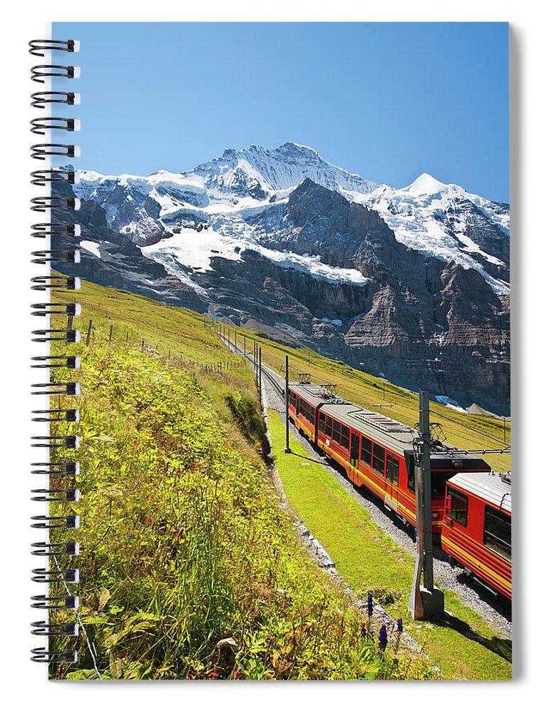 Scenics Spiral Notebook featuring the photograph Jungfraubahn, Swiss Alps by Michaelutech