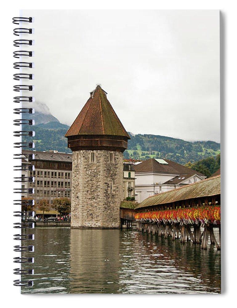 Scenics Spiral Notebook featuring the photograph Kapellbrucke On Reuss River, Lucerne by Cultura Rf/rosanna U
