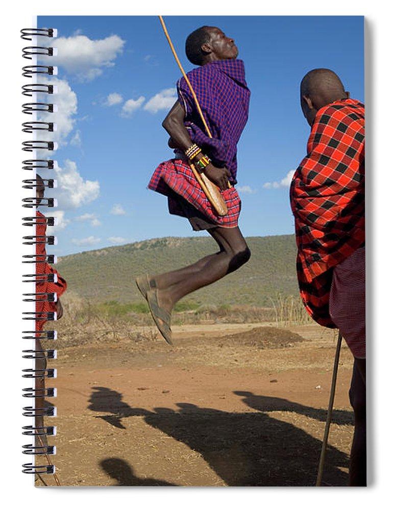 Young Men Spiral Notebook featuring the photograph Kenya, Masai Mara, Masai Dancers by Peter Adams