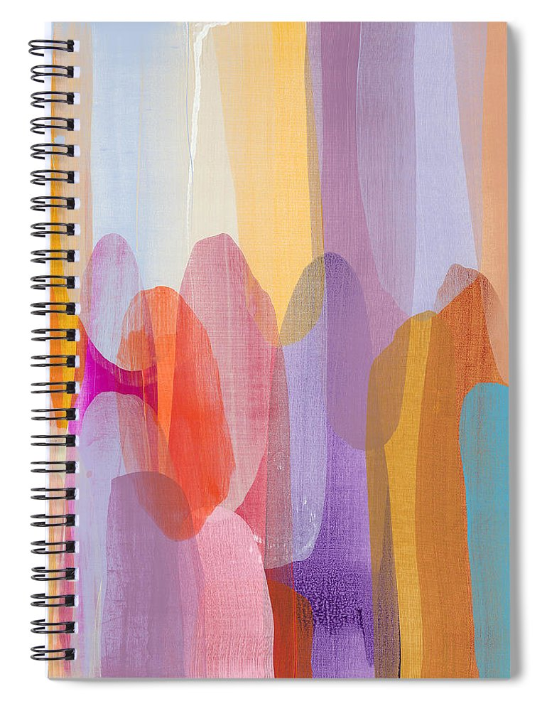 Abstract Spiral Notebook featuring the painting Kinship by Claire Desjardins