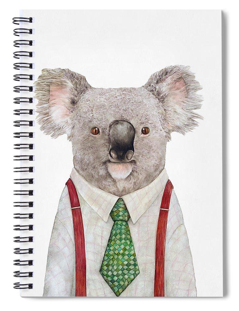 Koala Spiral Notebook featuring the painting Koala by Animal Crew