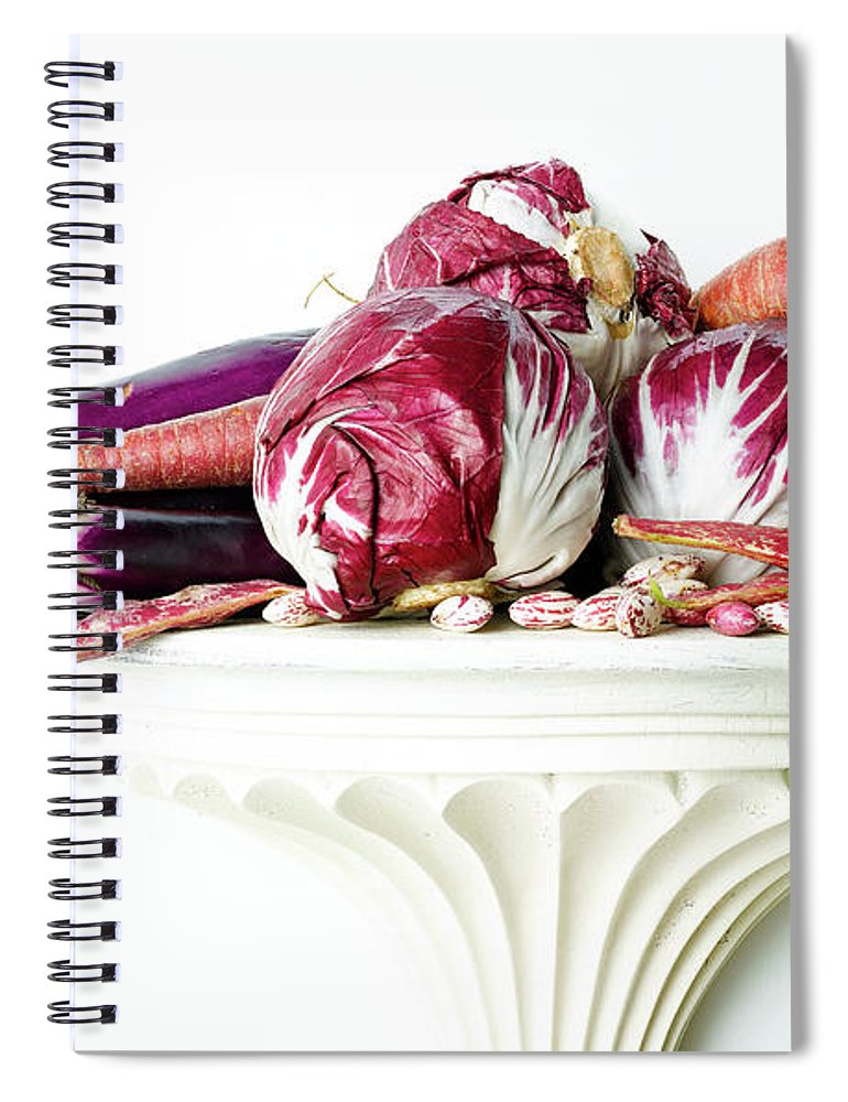 White Background Spiral Notebook featuring the photograph Kohlrabi, Eggplant And Carrots by Chris Stein
