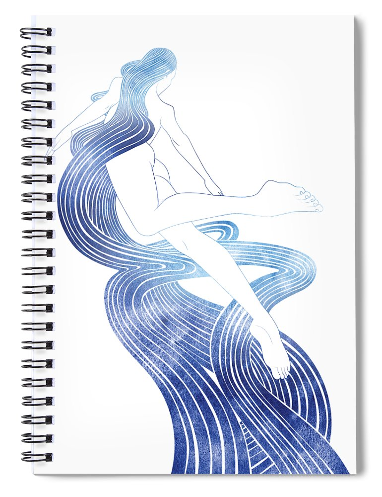 Aqua Spiral Notebook featuring the mixed media Kymo by Stevyn Llewellyn