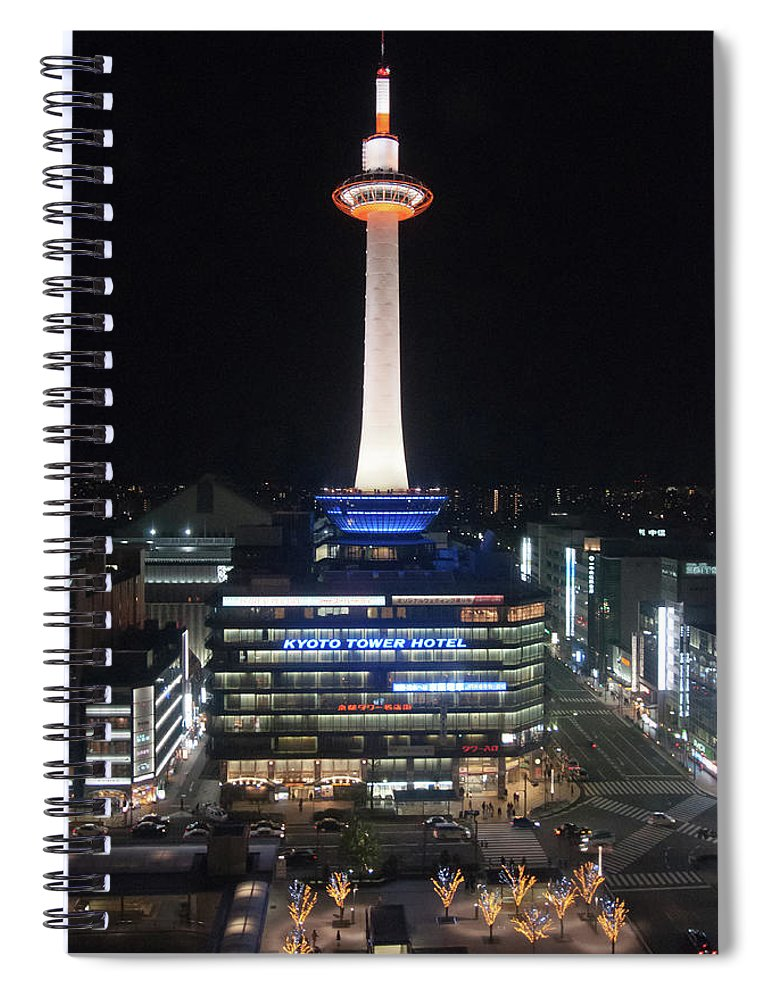 Kyoto Tower Spiral Notebook featuring the photograph Kyoto Tower by Genpi Photo