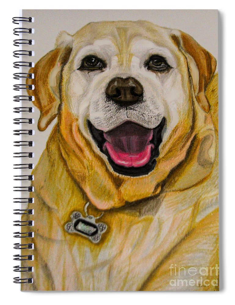 Labrador Spiral Notebook featuring the drawing Labrador Retriever Drawing by Zina Stromberg