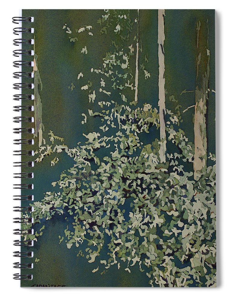 Forest Spiral Notebook featuring the painting Lacy Edge by Jenny Armitage
