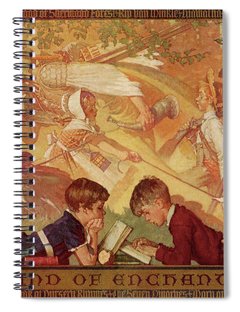 Books Spiral Notebook featuring the drawing Land Of Enchantment by Norman Rockwell