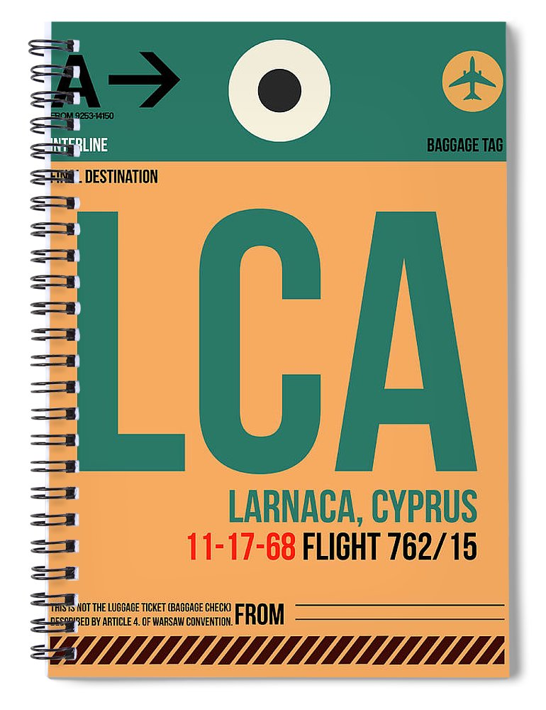 Unique Collection Of Retro Styled Luggage Tags Representing City Of Your Flight Destination. American Cities Spiral Notebook featuring the digital art Lca Cyprus Luggage Tag I by Naxart Studio