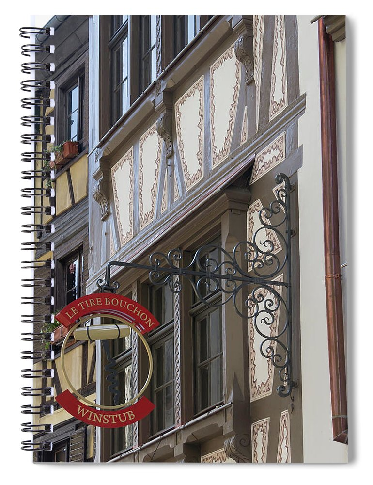 Alsace Spiral Notebook featuring the photograph Le Tire Bouchon Winstub Sign by Teresa Mucha