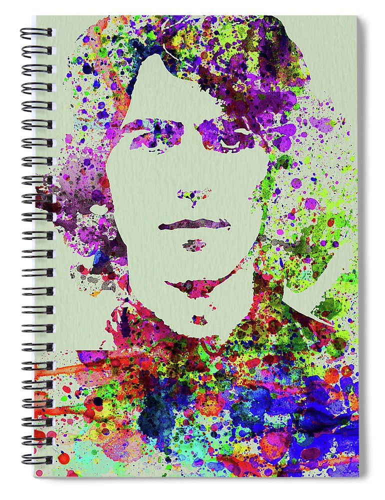 Beatles Spiral Notebook featuring the mixed media Legendary George Harrison Watercolor II by Naxart Studio