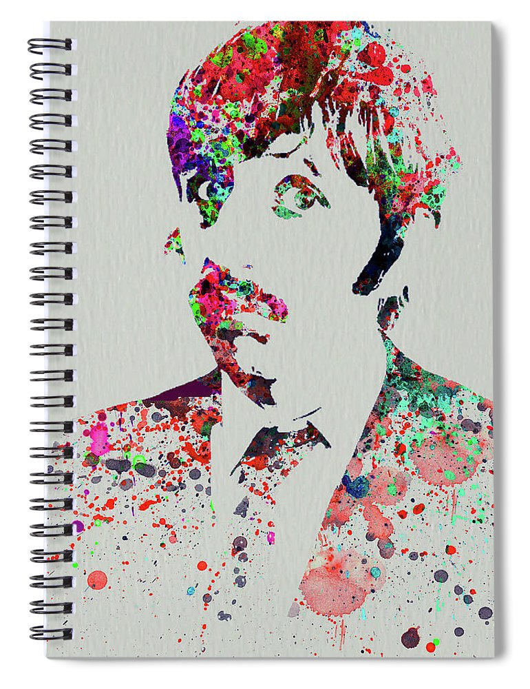 Beatles Spiral Notebook featuring the mixed media Legendary George Harrison Watercolor III by Naxart Studio