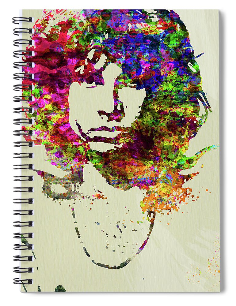 Jim Morrison Spiral Notebook featuring the mixed media Legendary Jim Morrison Watercolor by Naxart Studio