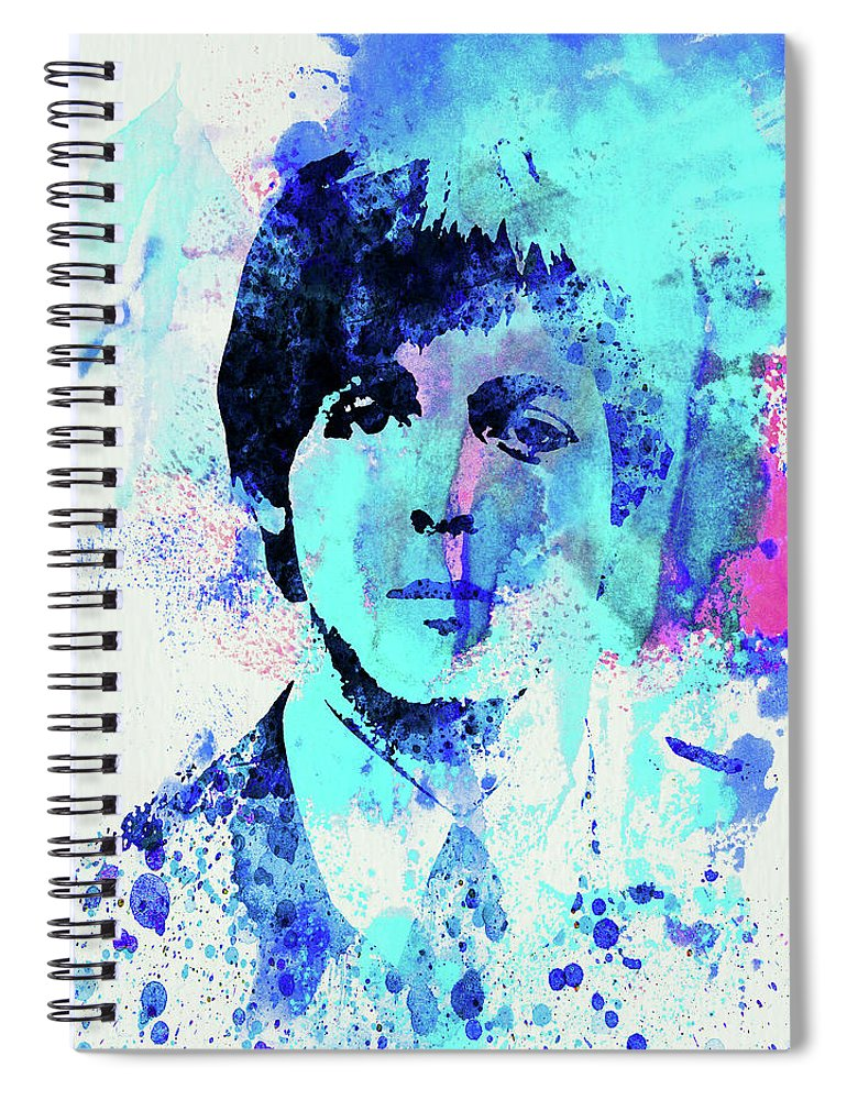 Beatles Spiral Notebook featuring the mixed media Legendary Paul Watercolor by Naxart Studio