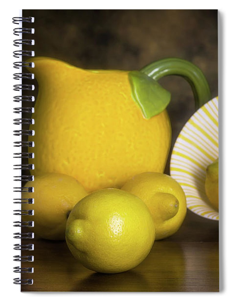 Lemon Spiral Notebook featuring the photograph Lemons With Lemon Shaped Pitcher by Tom Mc Nemar