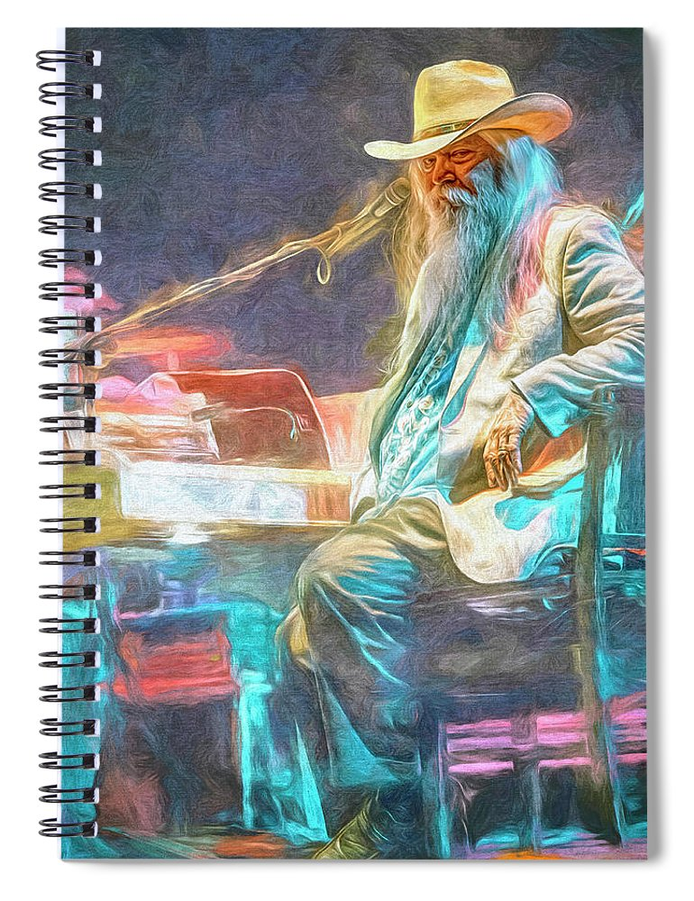 Leon Russell Spiral Notebook featuring the mixed media Leon Russell by Mal Bray