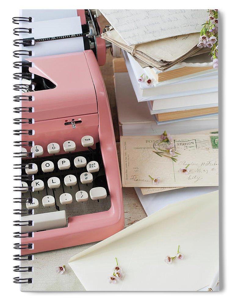 Office Spiral Notebook featuring the photograph Letters By Antique Typewriter by Tetra Images