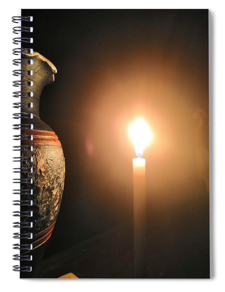 Candle Light Spiral Notebook featuring the photograph Light In The Dark by Ian Batanda