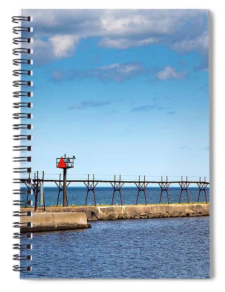 Lake Michigan Spiral Notebook featuring the photograph Lighthouse And Pier On Lake Michigan by Jamesbrey