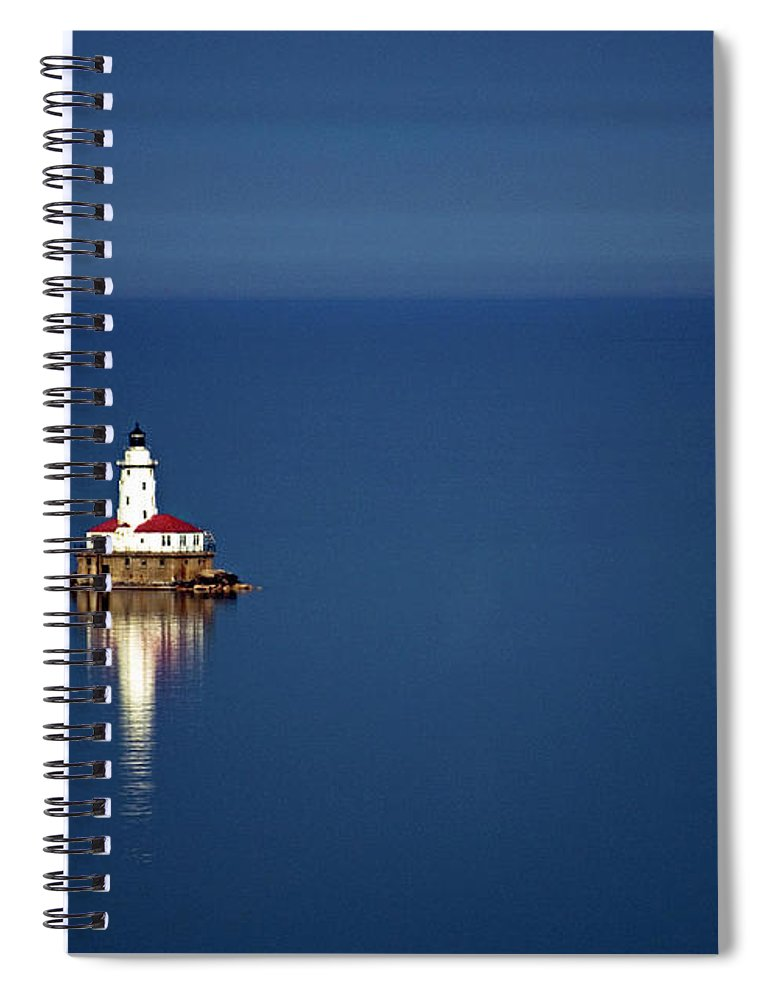 Outdoors Spiral Notebook featuring the photograph Lighthouse On A Lake by By Ken Ilio