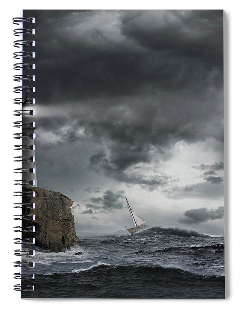 Risk Spiral Notebook featuring the photograph Lighthouse Shining Over Stormy Ocean by John M Lund Photography Inc