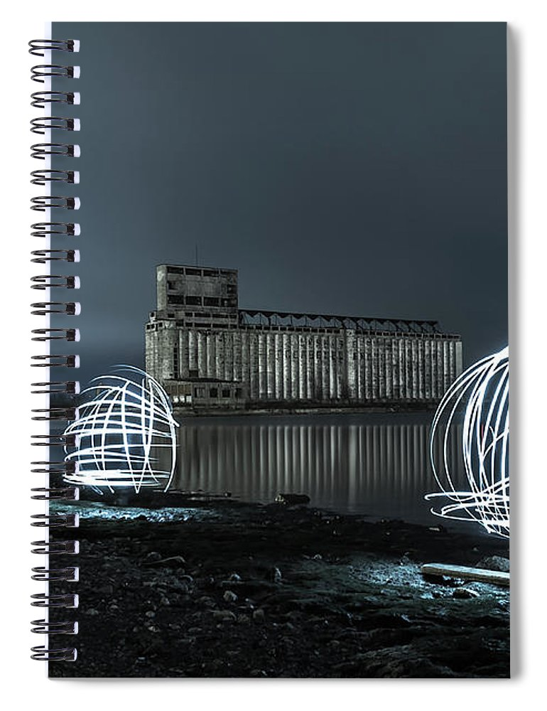 Galagher Pier Spiral Notebook featuring the photograph Lights in the Night by Dave Niedbala