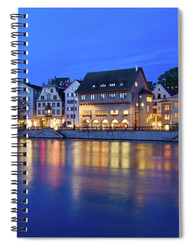 Zurich Spiral Notebook featuring the photograph Limmat River Waterfront In Downtown by Benedek