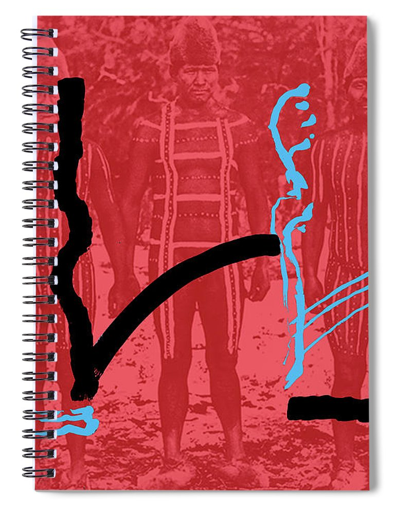 Body Painting Spiral Notebook featuring the painting Lines by Yifat Gat