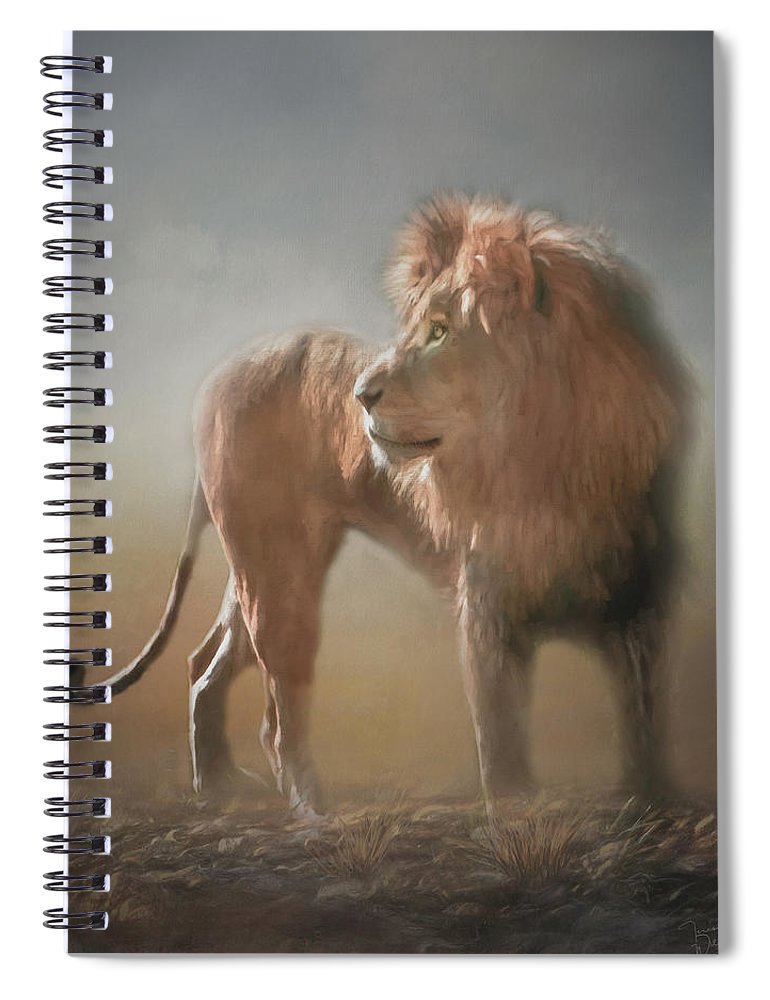 Lion Spiral Notebook featuring the digital art Lion King - Leader Of The Pride by Teresa Wilson